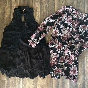 Free people black dress & floral romper